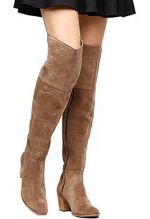 Bota Couro Over The Knee Shoestock Camurça Feminino - Feminino-Bege