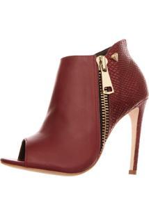 Bota Open Boot Conceito Fashion Couro Napa Borgonha