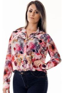 Camisa Pimenta Rosada Da Floral Fiorenza - Feminino-Floral