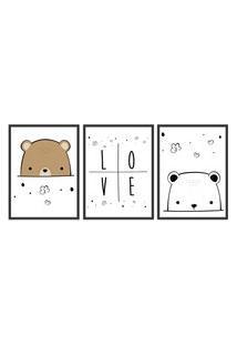 Quadro 30X60Cm Infantil Amor De Urso Moldura Preta Com Vidro Decorativo