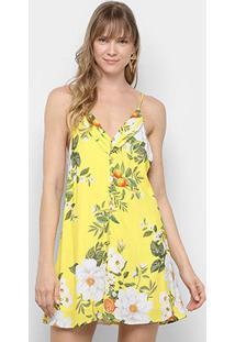 Vestido Curto Farm Flor De Laranjeira Amarração - Feminino-Amarelo