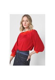 Blusa Lança Perfume Bicolor Vermelha/Laranja