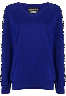 Boutique Moschino Suéter Com Recorte De Renda - Azul