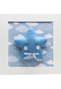 Quadro Decorativo Estrela Com Carinha Bebê Infantil Menino Potinho De Mel Azul