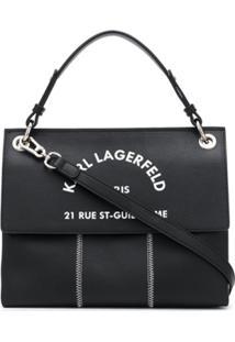 Karl Lagerfeld Bolsa Rue St Guillaume Com Alça De Mão - Preto