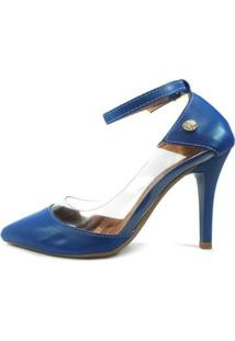 Scarpin Zhaceci Salto Alto Com Transparência Feminino - Feminino-Azul