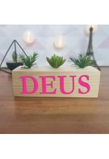 Cubo Decorativo Com Suculenta E Letras Em Acrílico Deus