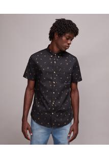 Camisa Masculina Mini Print Tucano Com Bolso Manga Curta Preta