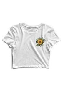 Blusa Blusinha Cropped Tshirt Camiseta Feminina Flor Branco