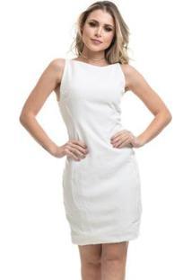 Vestido Clara Arruda Curto Costa Tule Feminino - Feminino-Off White