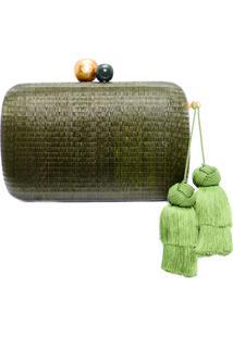 Clutch Feminina Em Rafia - Verde