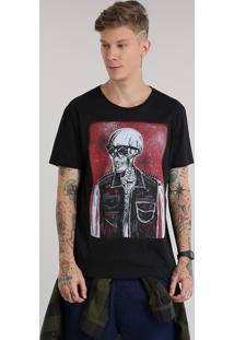 """Camiseta """"Caveira"""" Preta"""