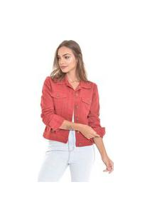Jaqueta Jeans Lemier Collecion Com Botões Color Vermelha