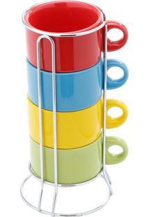 Jogo De Xícaras De Chá Com Suporte- Colorido- 4Pçs