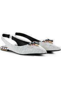Sapatilha Chanel Couro Loucos & Santos Pedraria - Feminino-Branco+Preto