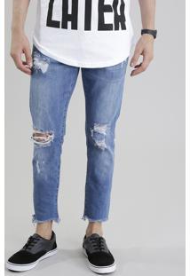 Calça Jeans Skinny Cropped Com Algodão + Sustentável Azul Médio