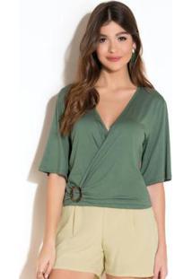Blusa Verde Com Decote Transpassado