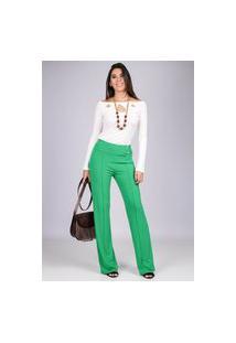 Calça Pantalona Malha Com Botão Madrepérola E Bolso Verde Claro