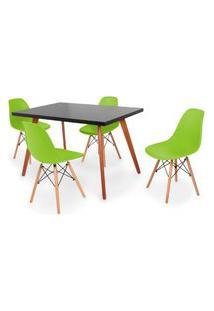 Conjunto Mesa De Jantar Gih 120X80Cm Preta Com 4 Cadeira Eames Eiffel - Verde