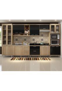 Cozinha Compacta 17 Portas Para Pia E Cooktop 5806 Preto/Argila - Multimóveis