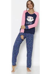 """Pijama Oncinha """"Love"""" Com Recortes- Azul Marinho & Rosa Puket"""