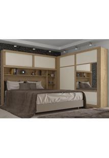 Guarda-Roupa Modulado Para Casal Firenze Plus-Móveis Europa - Amendoa / Off White