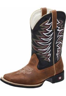 Bota Texana Country Em Couro Fenix Boots Marrom/Preto