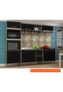 Cozinha Compacta Vitória 9 Pt 3 Gv Preta E Creme