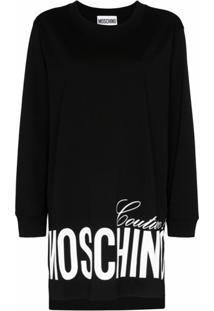 Moschino Vestido Oversized Com Estampa De Logo - Preto
