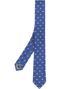 Emporio Armani Gravata Jacquard Com Logo - Azul