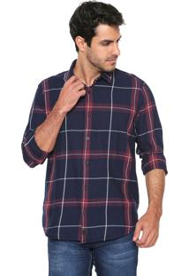 Camisa Reserva Xadrez Azul-Marinho
