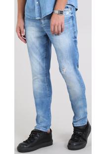 Calça Jeans Masculina Carrot Com Rasgos Azul Claro
