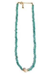 Colar Chocker Pedra Natural Semijoia Banho De Ouro 18K Agata Verde E Perola - Feminino