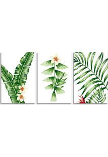 Quadro Oppen House 60X120Cm Folhagem Folhas De Palmeira Canvas Decoração