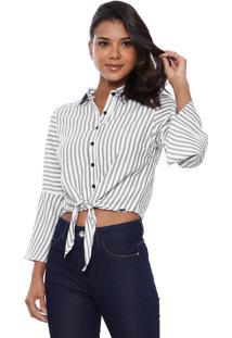 Blusa Vide Bula Chemise Amarração Frente Branco