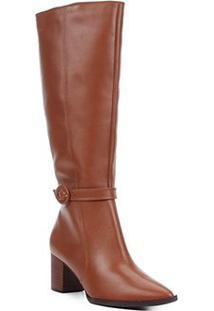 Bota Couro Shoestock Cano Longo Fivela Feminina - Feminino-Marrom