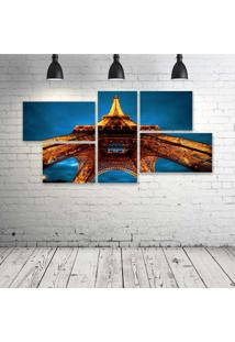 Quadro Decorativo - La-Tour-Eiffel - Composto De 5 Quadros - Multicolorido - Dafiti