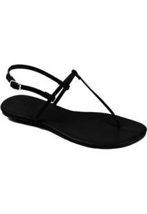 Rasteira Básica Mercedita Shoes Feminina - Feminino-Preto