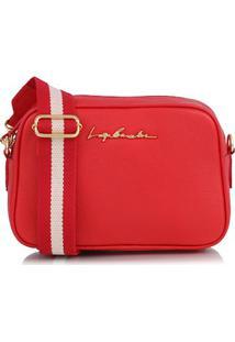 Bolsa Pequena Em Couro Vermelho E Alça Fita