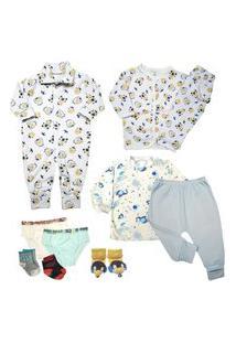 Kit Roupinha De Bebê 10 Peças Mini Enxoval E Acessórios Bebê Azul