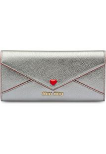 Miu Miu Carteira Madras With Love Com Logo - Metálico