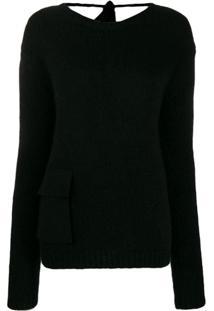 Rochas Suéter Com Bolso - Preto