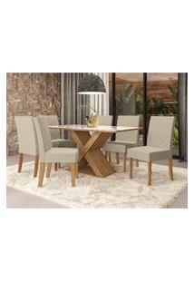 Sala De Jantar Graviola Kappesberg Mesa Com 6 Cadeiras Freijó/Pedra