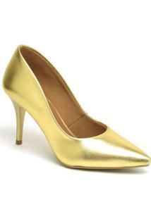 Scarpin Metalizado Salto Médio Ellas Online Feminino - Feminino-Dourado