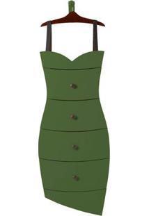 Cômoda Com 4 Gavetas Dress Maxima Cacau/Verde Musgo