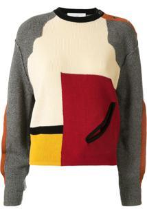 Toga Suéter Color Block Com Detalhe Vazado - Vermelho