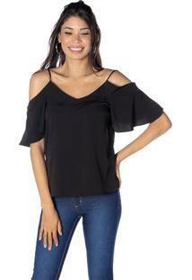 Blusa Lisa Com Ombros Vazados - Pretadwz