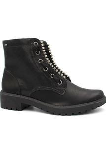 Bota Ankle Boot Dakota Em Couro Feminina - Feminino-Preto