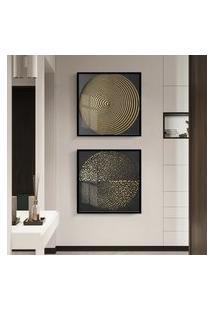 Quadro 50X100Cm Abstrato Dourado Beroia Moldura Preta Vidro