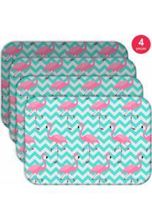 Jogo Americano Love Decor Wevans Flamingos Kit Com 4 Pçs